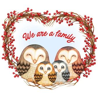 Watercolor cute barn owls family on a heart wreath