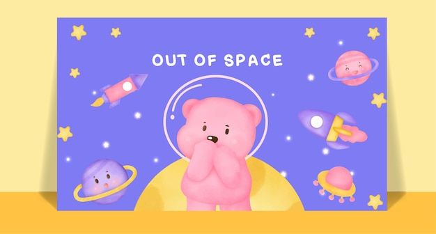 Watercolor cute bear on the moon post card .