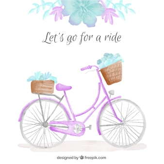 Watercolor cute bicycle with floral detail background