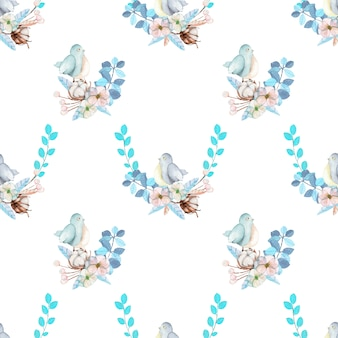 Watercolor cute bird and blue flowers seamless pattern