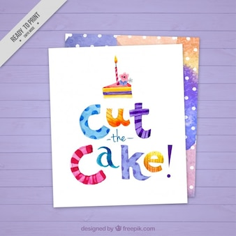 Watercolor cute birthday card with a pice of cake