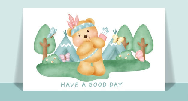 Watercolor cute boho teddy bear in the forest greeting card.