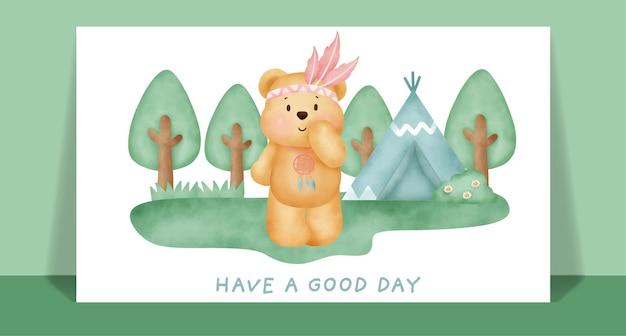 Акварель милый бохо плюшевый мишка в лесной поздравительной открытке.