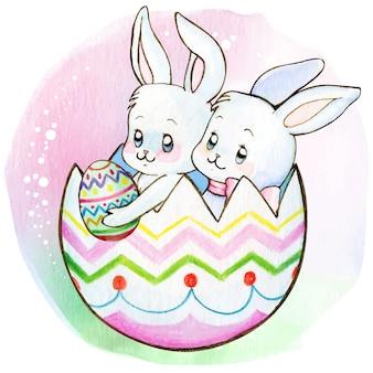 Watercolor cute bunnies inside an easter egg shell