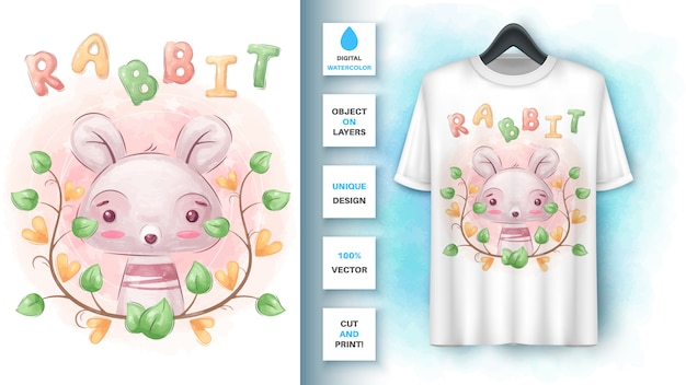 Watercolor cute bunny - poster and merchandising