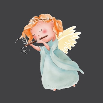 Watercolor cute cartoon angel playing in flute