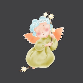 Watercolor cute cartoon angel on stars swing