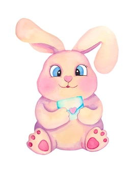 Watercolor cute cartoon children bunny with letter. valentines day illustration.