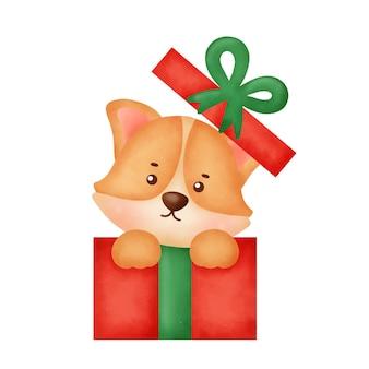 크리스마스 카드를 위한 크리스마스 선물 상자가 있는 수채화 귀여운 만화 코기 개.