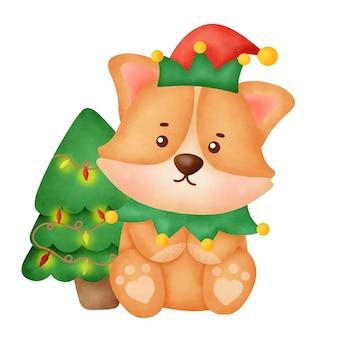 크리스마스 카드에 대 한 크리스마스 트리와 수채화 귀여운 만화 corgi 개.