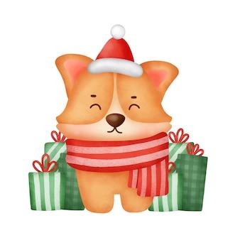 크리스마스 카드를 위한 선물 상자가 있는 수채화 귀여운 만화 코기 개.