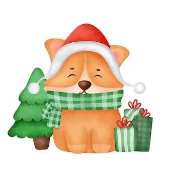 크리스마스 카드에 산타 모자와 수채화 귀여운 만화 corgi 개.