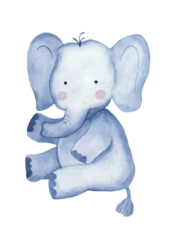 Watercolor cute cartoon elephant toy clipart