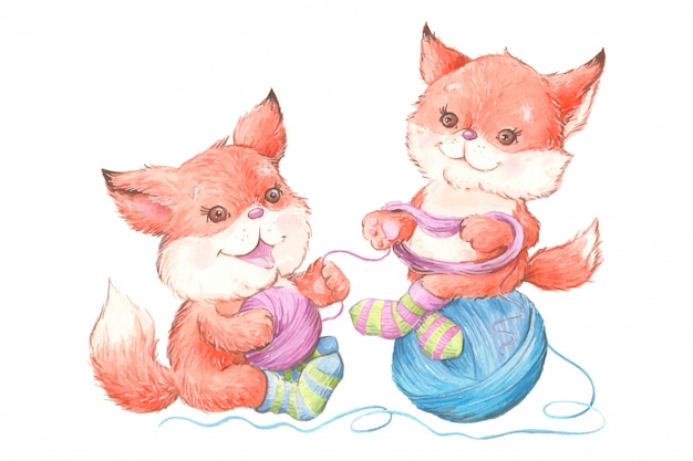 Watercolor cute cartoon foxes in knitted socks with a ball of yarn