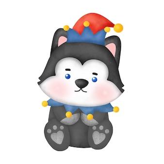 크리스마스 카드에 대 한 수채화 귀여운 만화 허스키 개입니다.