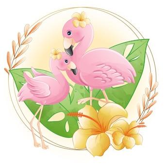 수채화 귀여운 만화 꽃과 작은 플라밍고