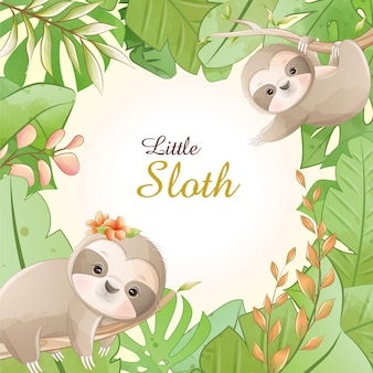 Watercolor cute cartoon little sloth with floral