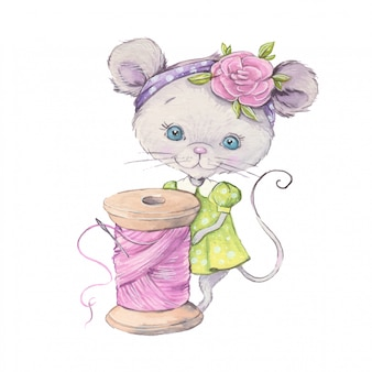 Watercolor cute cartoon mouse with a sewing spool of thread.