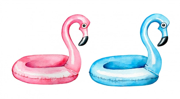 Watercolor cute cartoon pink and blue flamingo swimming rings set on a white background