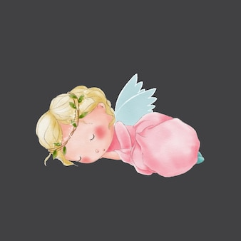 Watercolor cute cartoon sleeping angel