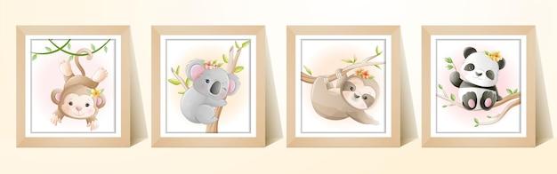 フレームと水彩のかわいい漫画熱帯動物