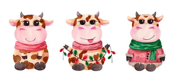 花輪と水彩のかわいいクリスマスの雄牛のキャラクター