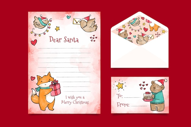 Watercolor cute christmas stationery template