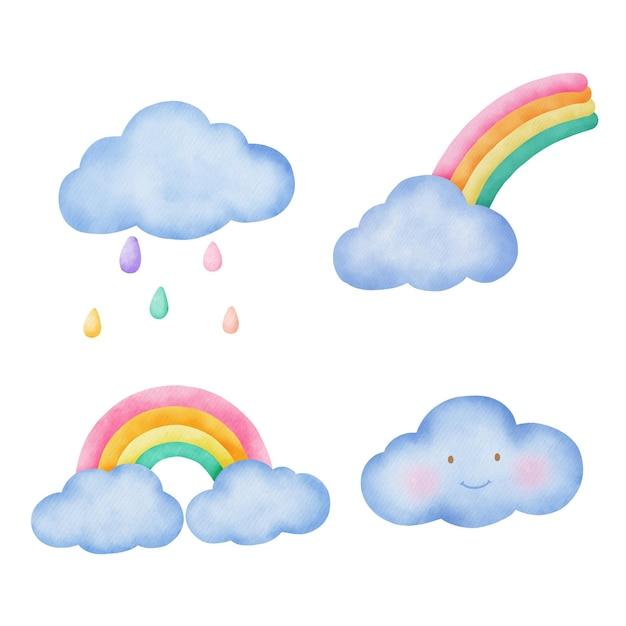 Набор акварели милые облака и радуга.