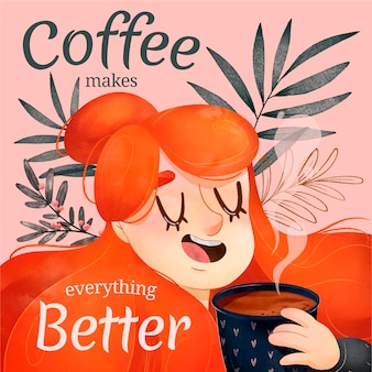 水彩かわいいコーヒー時間イラスト