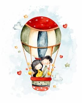 Акварельная милая пара летит на воздушном шаре