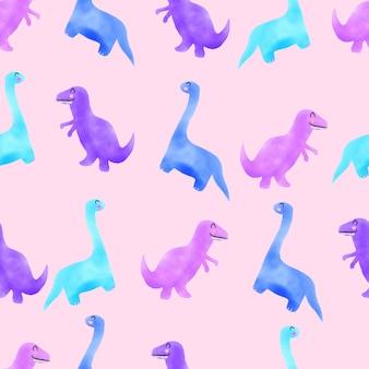 水彩かわいい恐竜手描きのシームレスパターンピンク