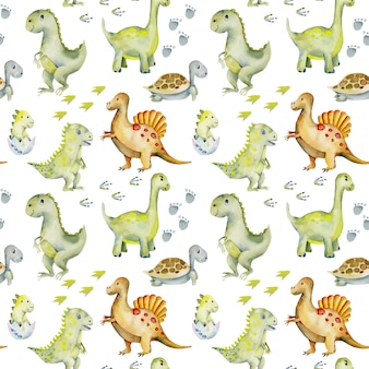 Watercolor cute dinosaurs, turtles and baby dino seamless pattern