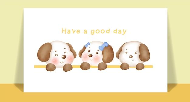Акварель милая собака для поздравительной открытки.