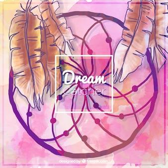 Акварели мило dreamcatcher с фоном перьев