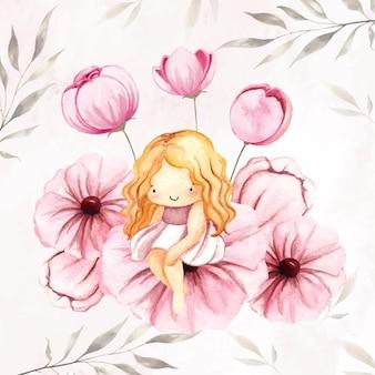 꽃에 앉아 수채화 귀여운 요정