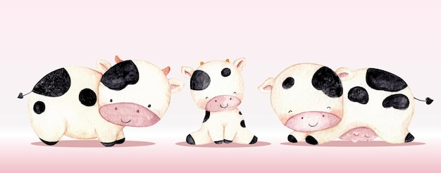 Watercolor cute farm animal cow set