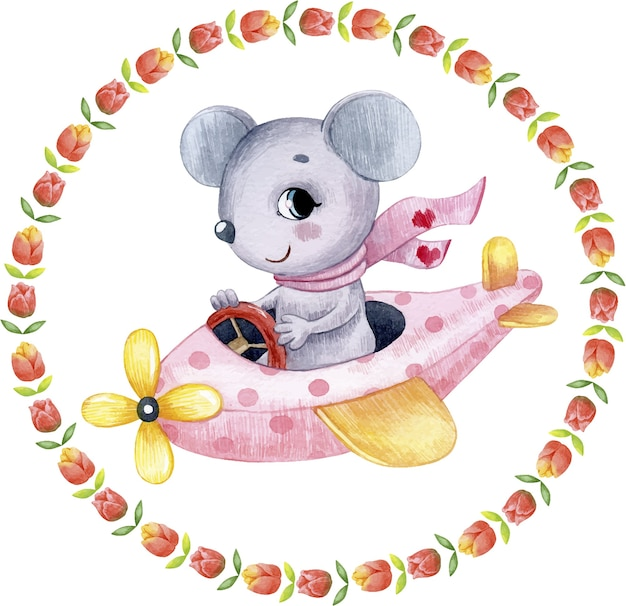 Watercolor cute festive illustration of a mouse in a pink airplane greeting card for valentine's day