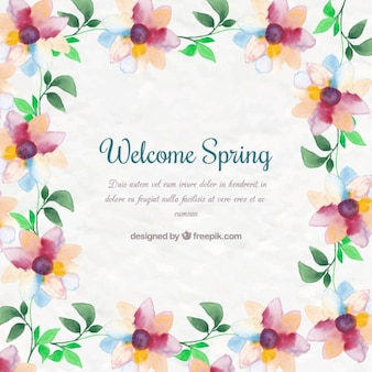 Watercolor cute floral background