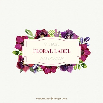 Watercolor cute floral label in vintage style