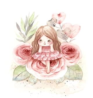 Акварельная милая цветочная фея