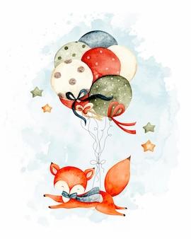 風船で飛んでいる水彩のかわいいキツネ