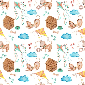 Watercolor cute funny dogs playing kites seamless pattern