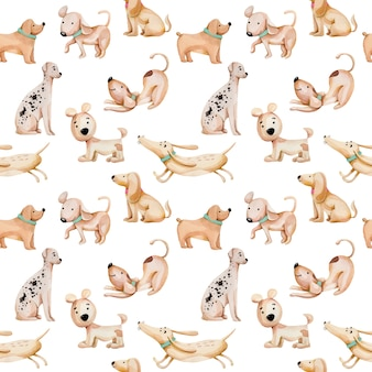 Watercolor cute funny dogs seamless pattern