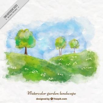 Watercolor cute garden landscape background