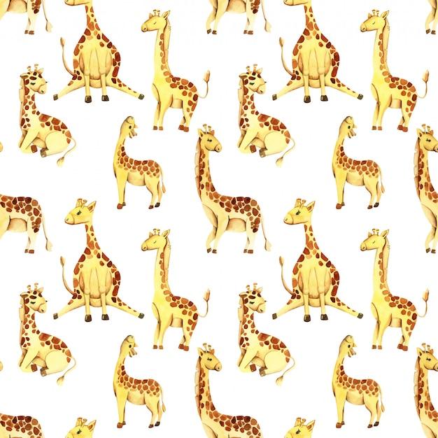 Watercolor cute giraffes seamless pattern