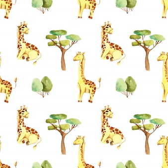 Watercolor cute giraffes and trees seamless pattern
