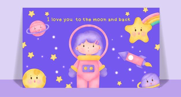 공간 엽서에서 수채화 귀여운 소녀.