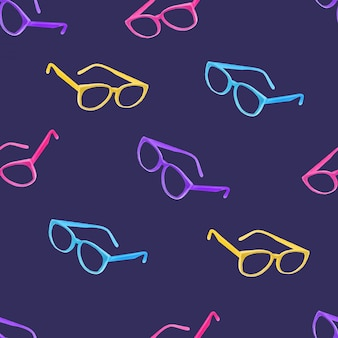 Watercolor cute glasses seamless pattern summer