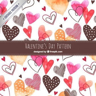 Watercolor cute hearts pattern