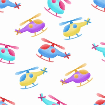 Watercolor cute helicopter kids seamless pattern